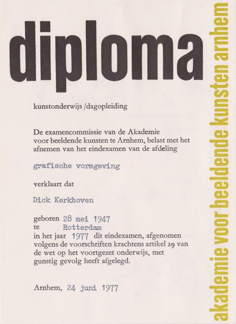 Diploma 1977 (huisstijl Akademie voor Beeldende Kunsten)