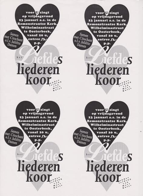 A6 kaarten voor Liefdesliederenkoor Oosterbeek
