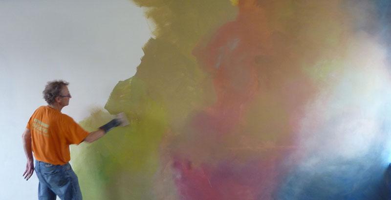Woonkamerwand in verlopende tinten, Den Bosch