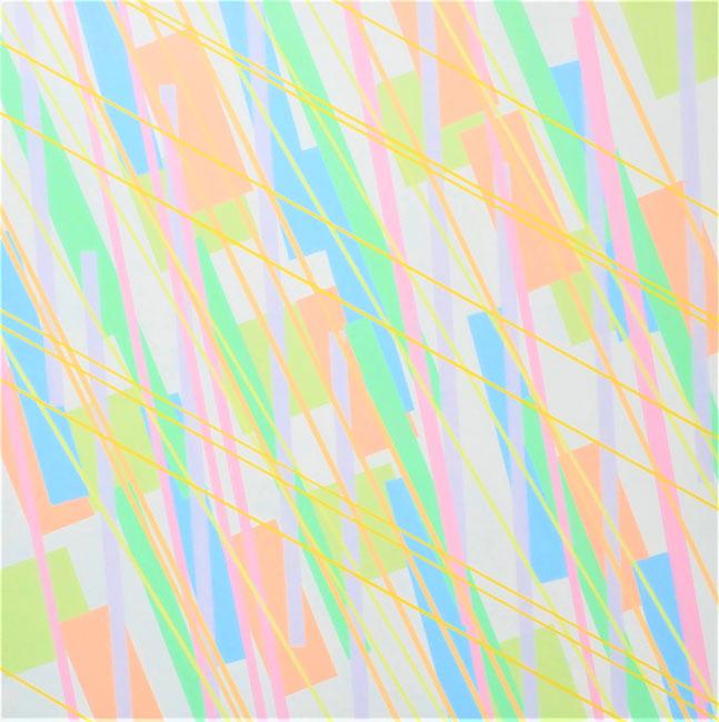 Compositie 1-2021, Acryllak op paneel, 100x100x4cm