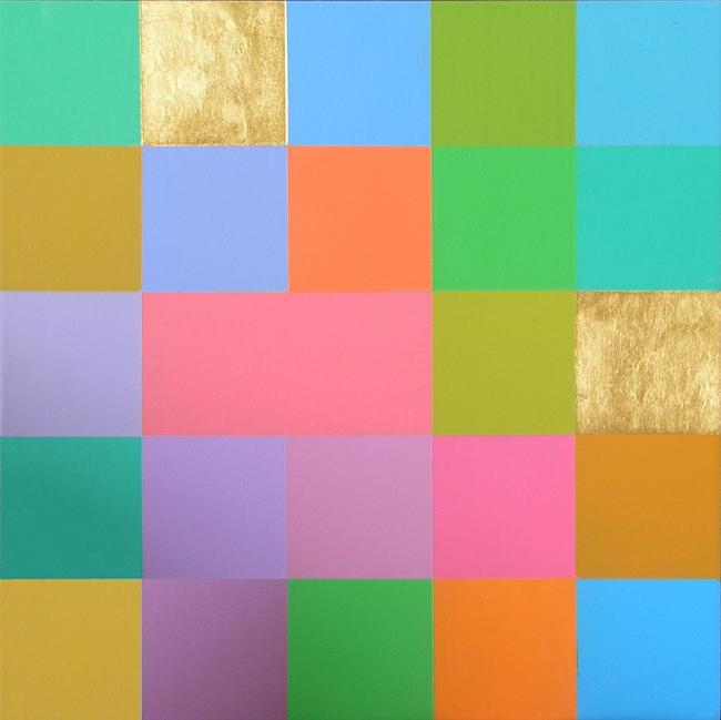Kleurwerk, acryl en bladgoud op MDF, 30x30cm