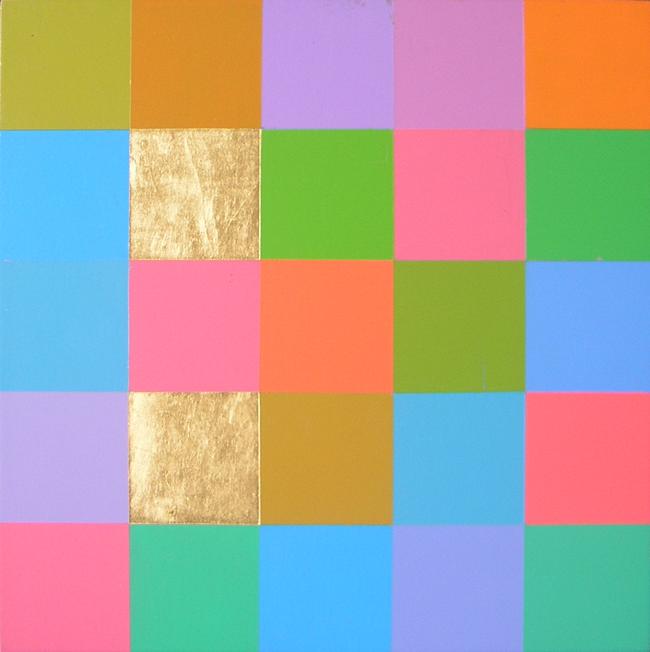 Kleurwerk GEWYD, acryl en bladgoud op MDF, 30x30cm