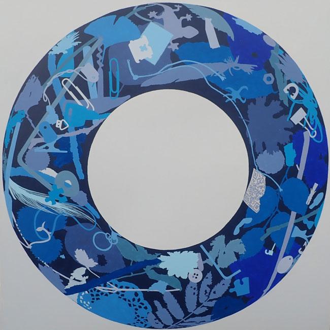 Blauwerkrans, acryl op MDF, 100X100X4 cm.