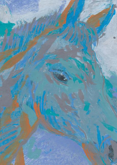 chevalJanne, acryllak op papier, 12x17cm part. coll.