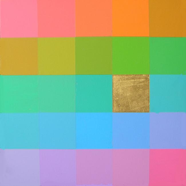 Kleurwerk ABCDE, acryl en bladgoud op MDF, 30x30cm