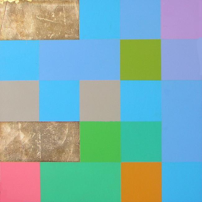 Kleurwerk OOSTW, acryl en bladzilver op MDF, 30x30cm