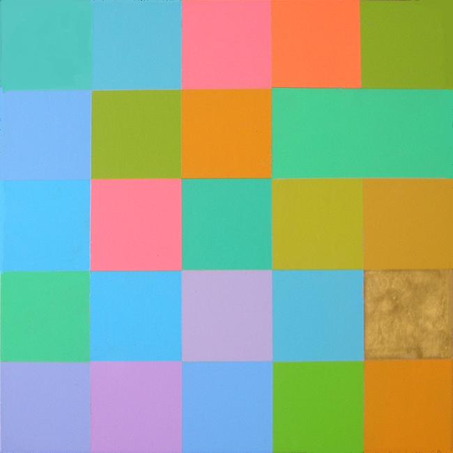 Kleurwerk PRACH, acryl en bladgoud op MDF, 30x30cm