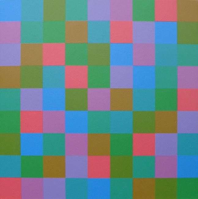 Kleurwerk XII, acryl op MDF, 1x1m