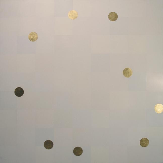 Kleurwerk XIVa, glansverf en bladgoud op MDF, 1x1m