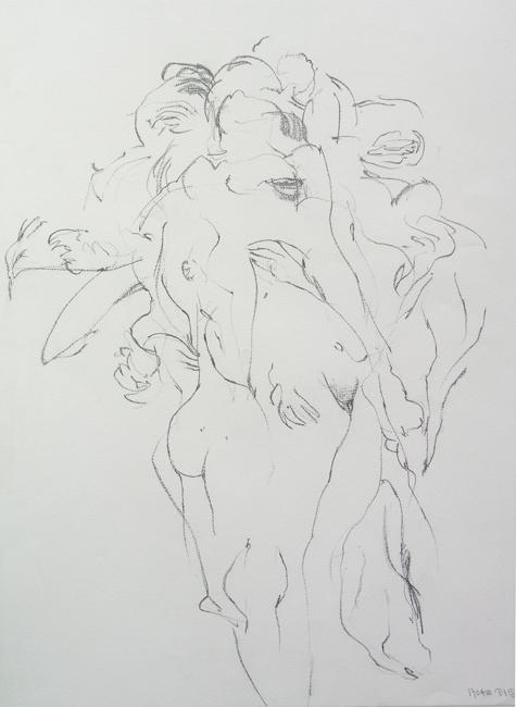 Dansend naakt, grafietstift