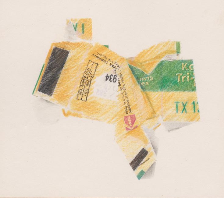 De kleuren uit het gele doosje, kleurpotlood