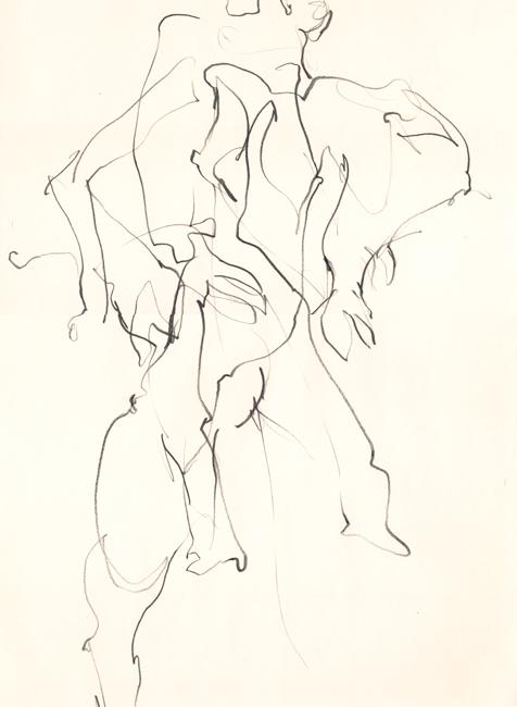 Dansend naakt 5, grafietstift