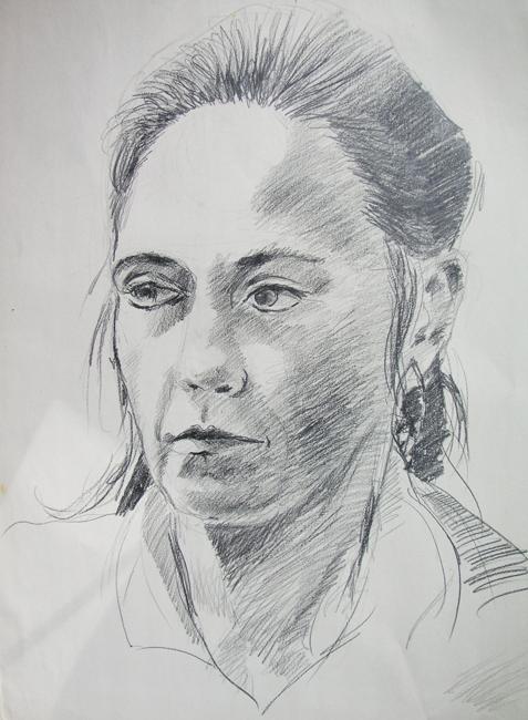 Portret Inge, grafietstift