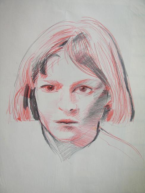 Portret, kleurpotlood en grafietstift