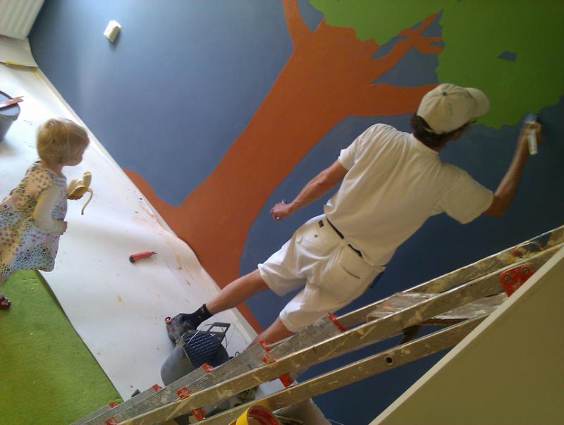 Wandschildering voor kleinkind